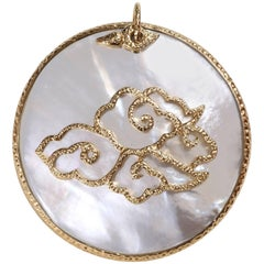 Hand-Worked Chinoiserie Pendant, Hand-Hammered 18-Karat Gold and Mother-of-Pearl