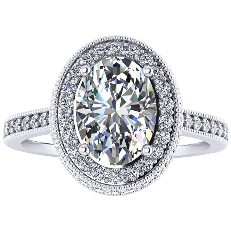 Ferrucci GIA Certified 1.73 Carat Oval Diamond Halo Engagement Ring in Platinum