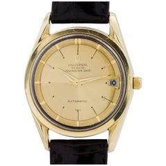 Universal Gold Plate Geneve Polerouter De Luxe Chronometer Wristwatch