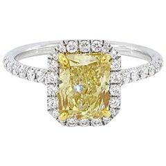 GIA Report 1.67 Carat Fancy Yellow Diamond Ring