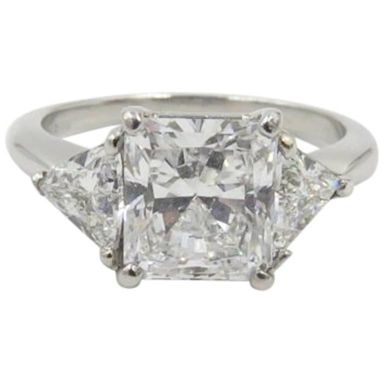 GIA Report  2.04 carat radiant cut diamond engagement ring