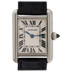 Cartier Ladies White Gold Tank Louis Quartz Wristwatch, circa 2000