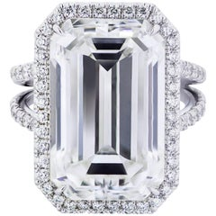 Important GIA Certified Emerald Cut Diamond Halo Engagement Ring