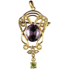 Antique Victorian Suffragette Gold Pendant Brooch, circa 1900