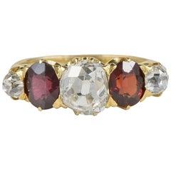 Victorian 2.00 Carat Diamond 1.20 Carat Red Garnet Five-Stone Ring