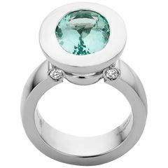 Contemporary Mint Aquamarine Ring Diamond Gold Ring by Jochen Leën