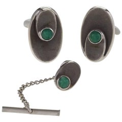1950's Chrysoprase and Gold Cufflink and Tie Tack Set