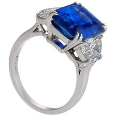 GIA Report 7.14 Carat Natural No Heat Ceylon Sapphire Diamond Ring