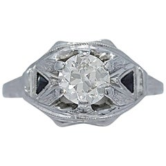 .75 Carat Diamond Sapphire Antique Engagement Ring