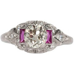 Art Deco Platinum GIA Certified Old European Brilliant Cut Diamond and Ruby Ring
