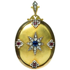 Antique Victorian Sapphire Diamond Ruby Gold Locket