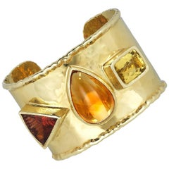 Three-Stone Wide Cuff Bracelet