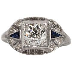 Art Deco Platinum Old European Brilliant Cut Diamond and Sapphire Ring