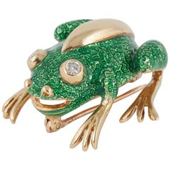 Tiffany & Co. Green Enamel Frog Pin