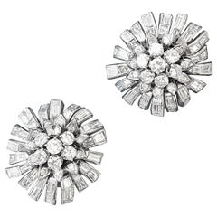 1950s Diamond and Platinum Flower Earrings