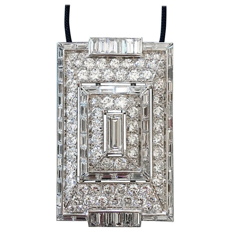1930s French Art Deco Diamond and Platinum Necklace 1