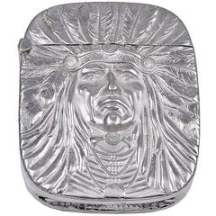 Unger Brothers Sterling Indian Chief Match Safe