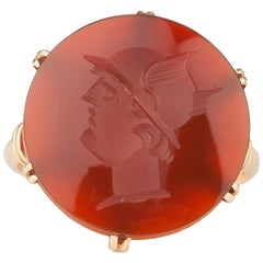 An 18k Gold French Carved Carnelian Ring