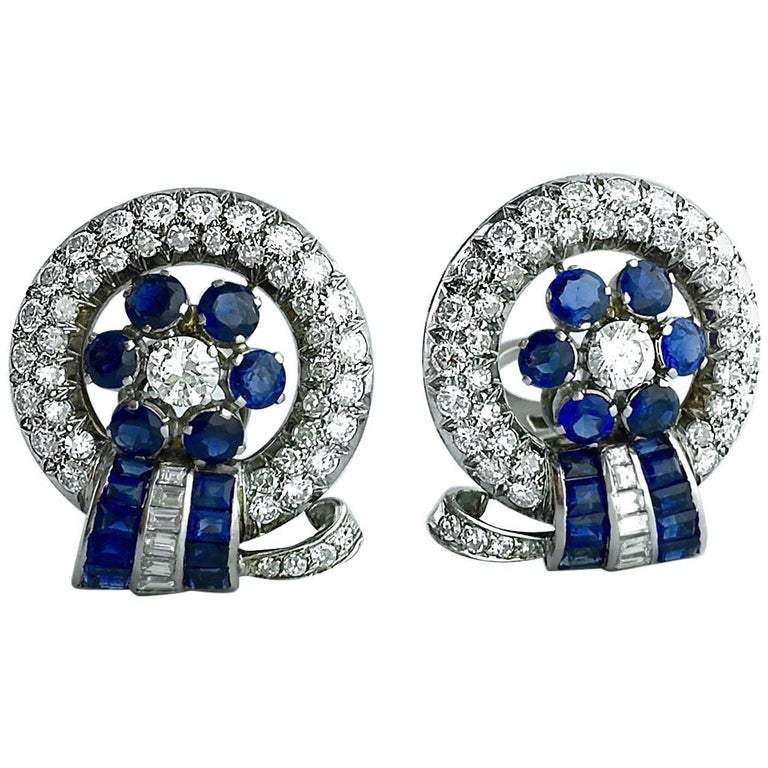 Retro Sapphire Diamond Platinum Earrings