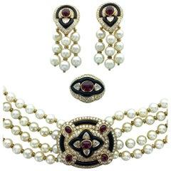 1980s Boucheron Diamond Ruby Onyx Pearl Set Earrings Ring Necklace