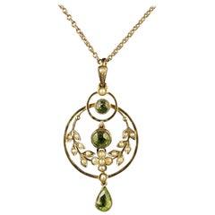 Antique Victorian Peridot Pearl Gold Pendant Necklace, circa 1900