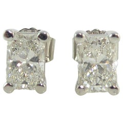 Radiant Diamond Stud Earrings, 1.96 Carat, Solitaire Settings, G/H Color
