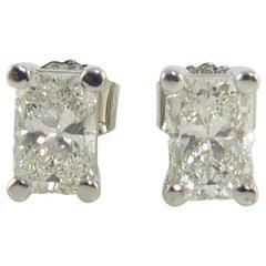 Radiant Diamond Stud Earrings, 1.96 Carat, Solitaire Settings, G/H Color