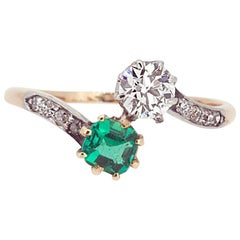 Art Deco Engagement Ring, Emerald Diamond Two-Stone Cross over Twist