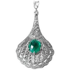 1990s Diamond and Green Chalcedony Pendant