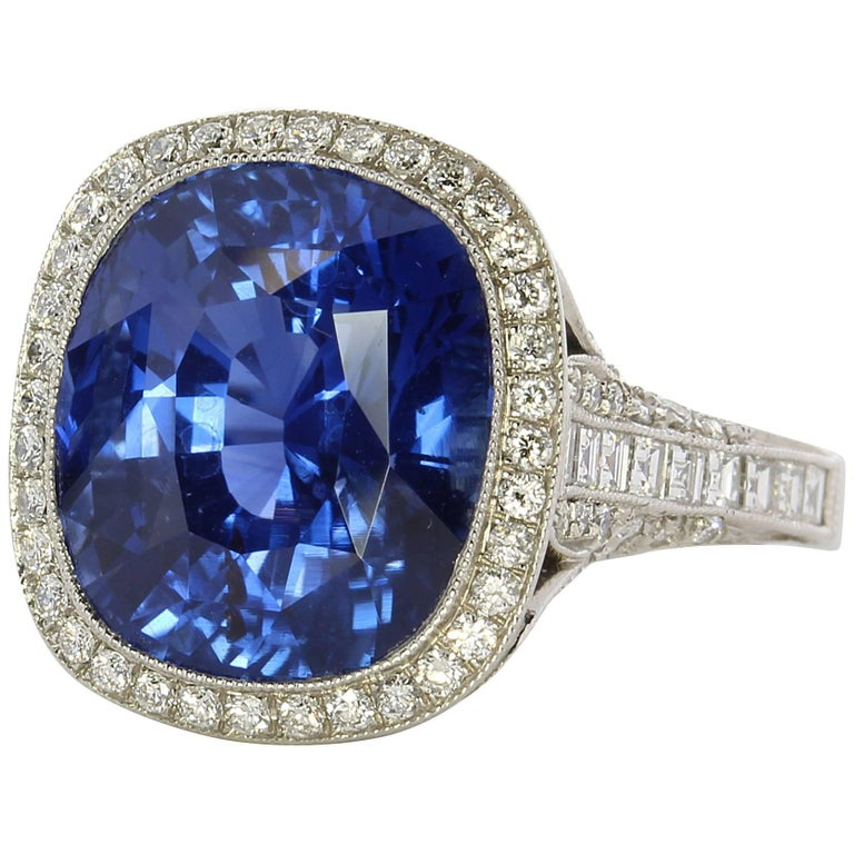 Natural Unheated 12.41 Carat Cushion Shaped Sapphire Ring