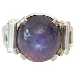 1940s Star Sapphire Cabochon and Diamond Platinum Cocktail Ring