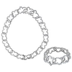 Angela Cummings Platinum Diamond Necklace and Bracelet 70cts