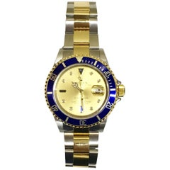 Rolex Yellow Gold Stainless Steel Submariner Automatic Wristwatch Ref 11613