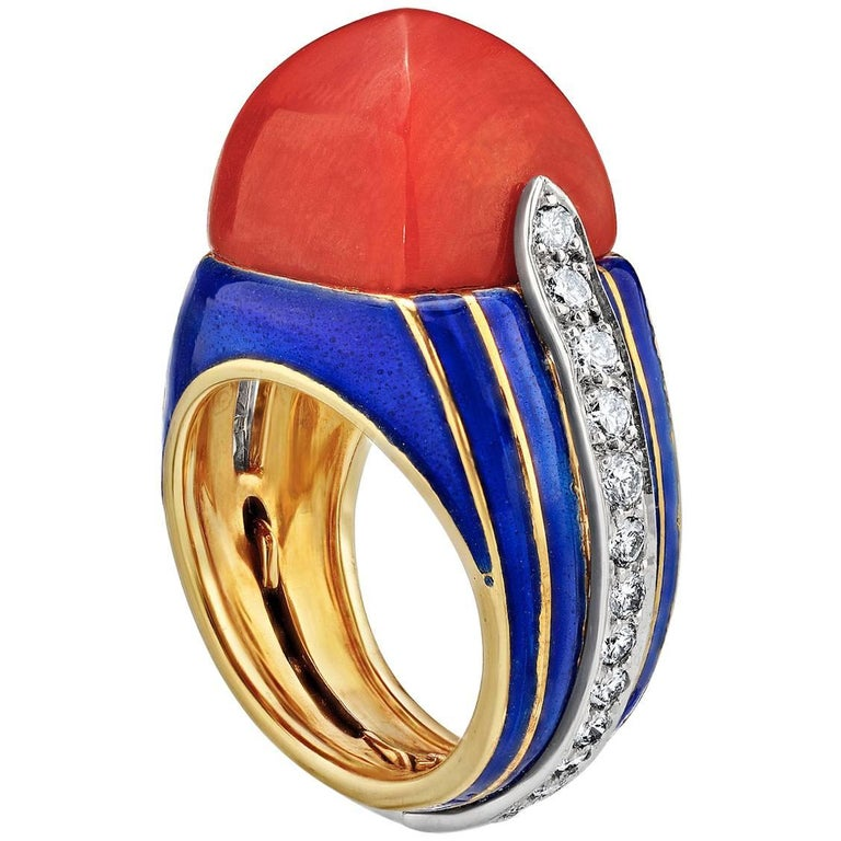Tiffany & Co. Donald Claflin Coral Pyramid Diamond Enamel Gold Cocktail Ring 1