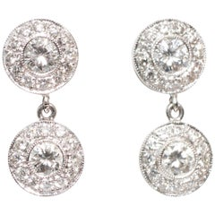 1.25 Carat Total Diamond and 14 Karat White Gold Earrings