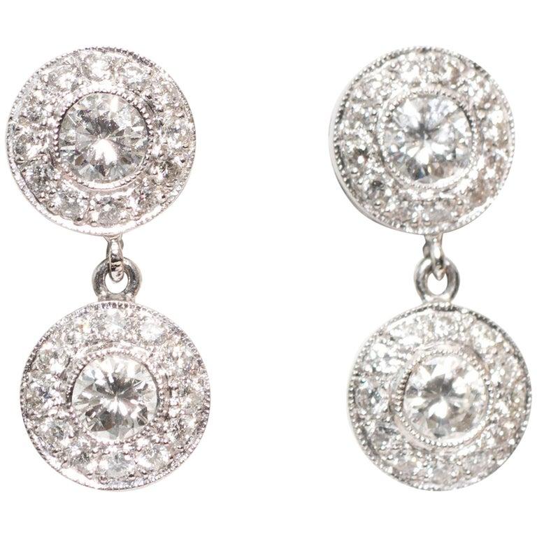 2000s Diamond Drop Earrings