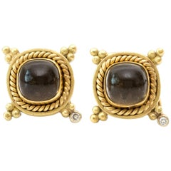 2000s Smoky Quartz and 18 Karat Yellow Gold Earrings