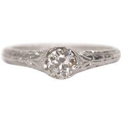 1910 Edwardian .40 Carat Old European Brilliant Platinum Engagement Ring
