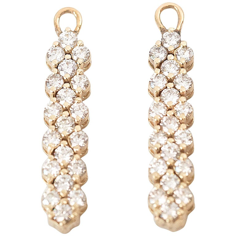 Diamond and 14K Yellow Gold Drop Earrings