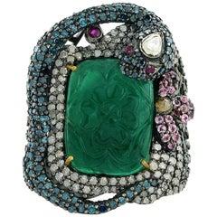 Carved Emerald Snake Ring
