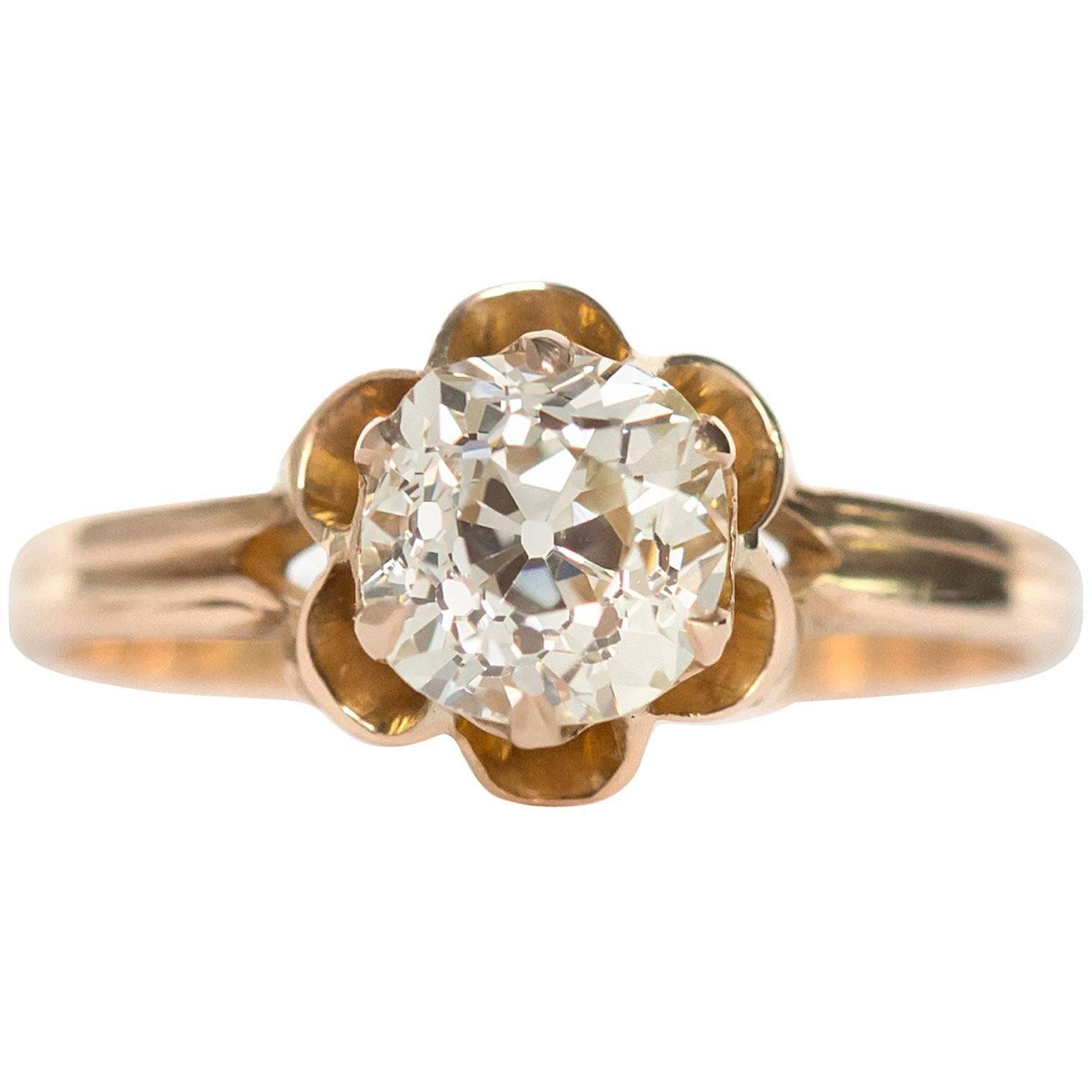 1890s Victorian 1.05 Carat Diamond 14 Karat Yellow Gold Engagement Ring