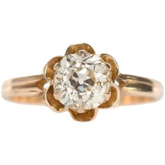 1890s Victorian 1.05 Carat Diamond 14 Karat Yellow Gold Engagement Ring