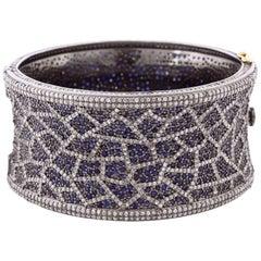 Modern Blue Sapphire and Diamond Bangle