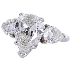 GIA Report 3.71 Carat Pear Shape Center Diamond Ring