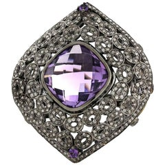 Checkered Amethyst Ring with Diamonds