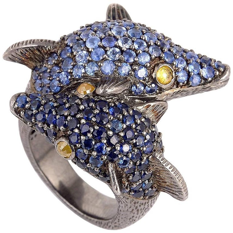 Blue Sapphire Dolphin Ring
