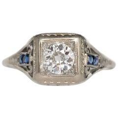 1930s Art Deco .40 Carat Diamond 14 Karat White Gold Engagement Ring