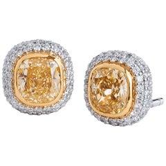 Tiffany & Co. 1.68 Carat Fancy Yellow Diamond Stud Earrings