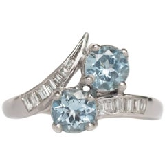 1950s Retro 1.00 Carat Aquamarine and .60 Carat Diamond Platinum Engagement Ring