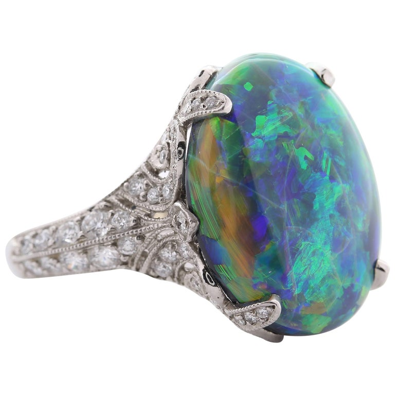 Tiffany & Co. 10.56 Carat Black Opal Diamond Ring For Sale